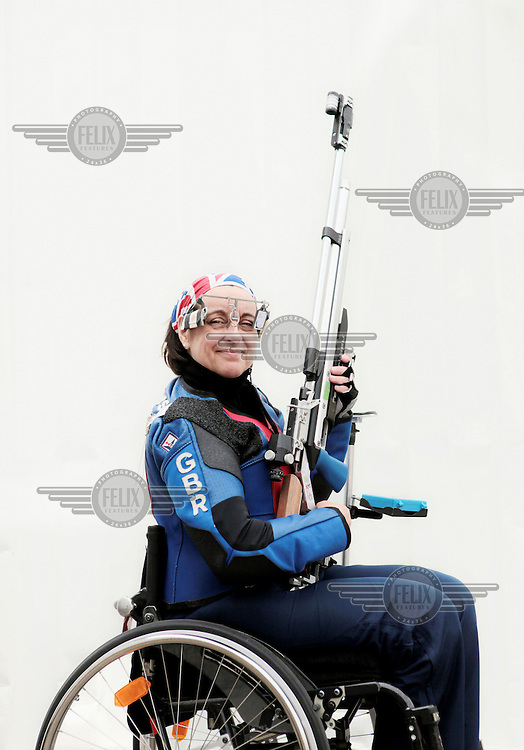 Mandy Pankhurst in training for the 10m air rifle shooting at The University of Bath. She competed at the 2012 London Paralympic Games.