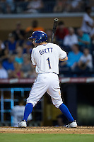 Ryan Brett (1) of the Durham Bulls at bat against the Indianapolis Indians at Durham Bulls Athletic Park on August 4, 2015 in Durham, North Carolina.  The Indians defeated the Bulls 5-1.  (Brian Westerholt/Four Seam Images)