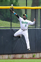 Chantz Mack #2 of the Clinton LumberKings makes leaping catch at the wall in left field against the West Michigan Whitecaps at Ashford University Field on July  25, 2014 in Clinton, Iowa. The Whitecaps won 9-0.   (Dennis Hubbard/Four Seam Images)
