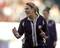 06 November,  2004.  USWNT midfielder Kristine Lilly laughs with her teammates before the game against Denmark at  Lincoln Financial Field in Philadelphia, Pa.