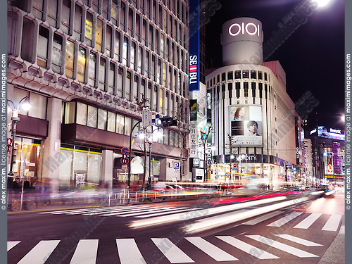 Shibuya Marui OI City, OIOI, 0101 fashion clothing store nighttime city scenery. Shibuya, Tokyo, Japan 2014.