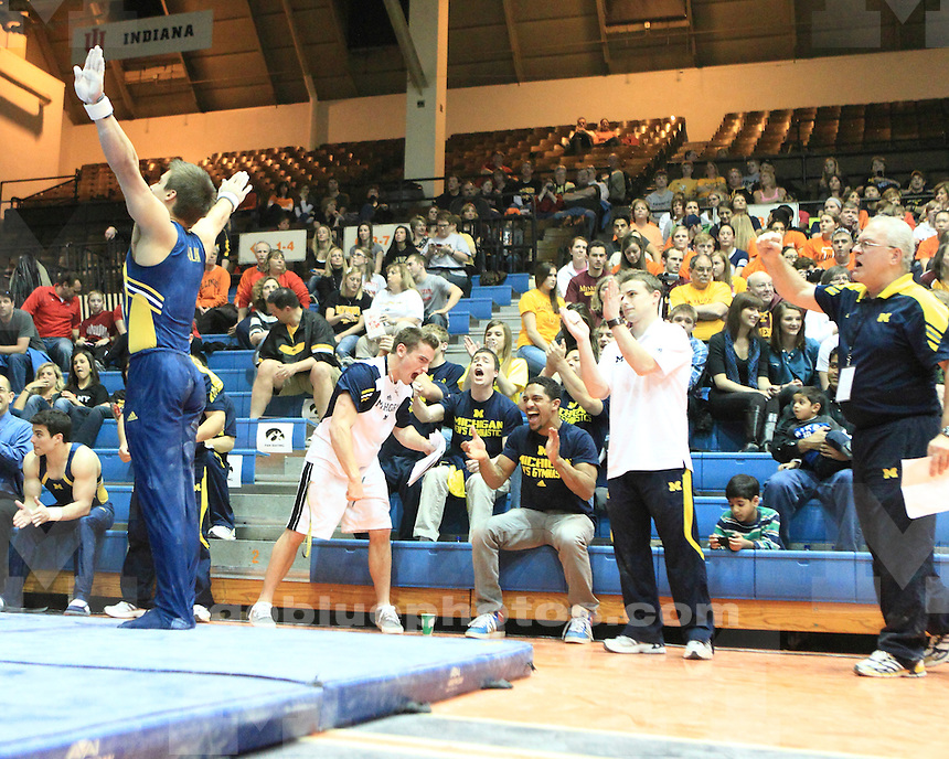 The University of Michigan men's gymnastics team took second place at the 2011 Big Ten Championships in Champaign, IL, on April 1, 2011.