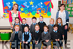 M/s Claire O'Connor's junior infant class at Tarbert NS on their first day at school with M/s Karen Costello right back.