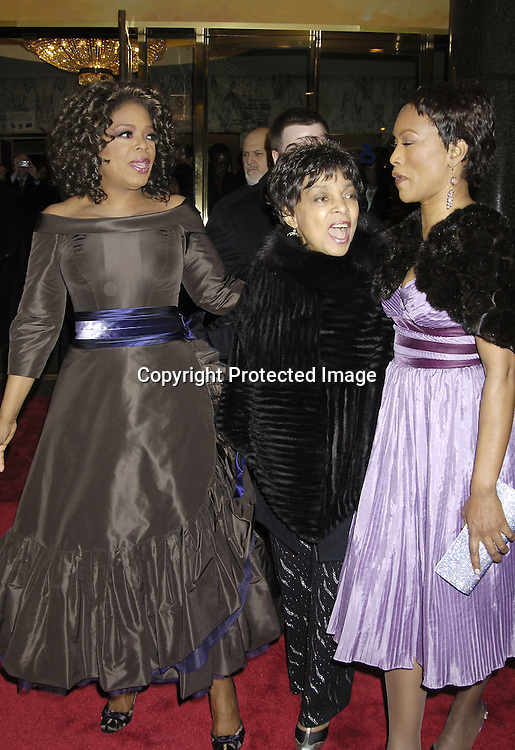 """Oprah Winfrey, Ruby and Angela Bassett ..arriving at the Broadway opening of """"The Color Purple"""" ..produced by Oprah Winfrey on December 1, 2005 ..at The Broadway Theatre...Photo by Robin Platzer, Twin Images"""