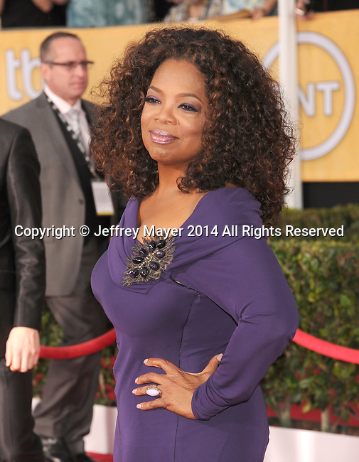 LOS ANGELES, CA- JANUARY 18: Actress Oprah Winfrey arrives at the 20th Annual Screen Actors Guild Awards at The Shrine Auditorium on January 18, 2014 in Los Angeles, California.
