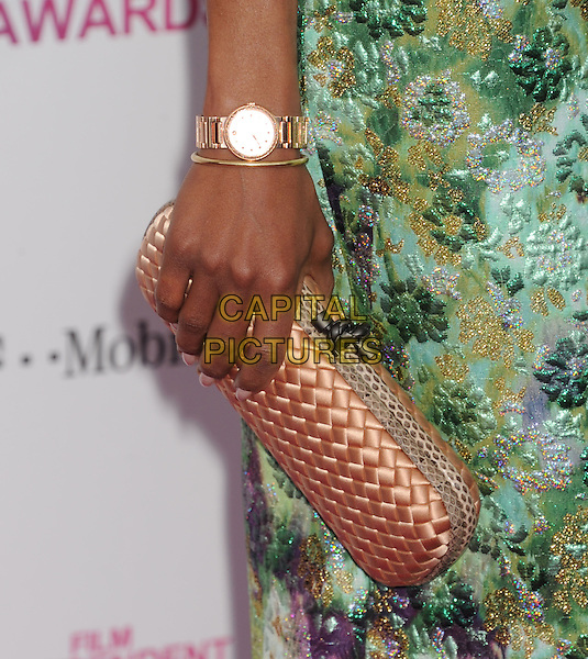 Kerry Washington's bag.2013 Film Independent Spirit Awards - Arrivals Held At Santa Monica Beach, Santa Monica, California, USA,.23rd February 2013..indy indie indies indys detail hand wristwatch watch pink weave gold green  print  floral .CAP/ROT/TM.©Tony Michaels/Roth Stock/Capital Pictures