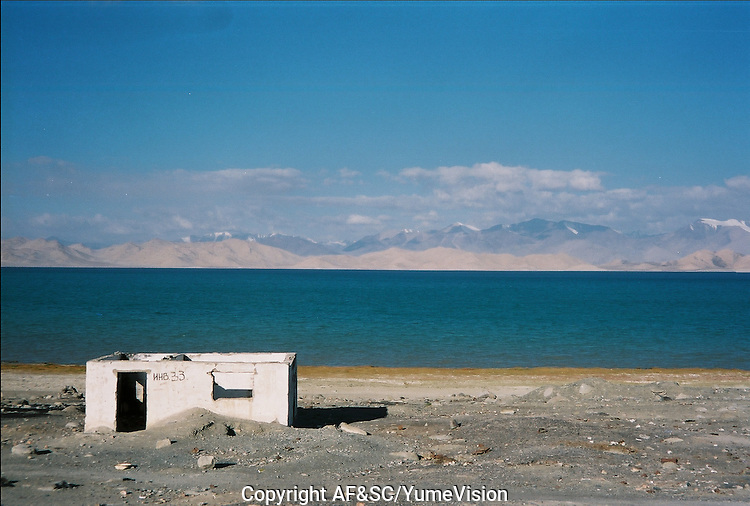 Karakul lake at 3914 meters high..The M41 Highway from the Ismaili capital of Khorog to the south capital of Kyrgyzstan - Osh, via the head district of Badakhshan - Murgab and the Akbajtal Pass at 4655 meters.