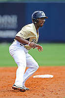 22 April 2012:  FIU outfielder Roche Woodard (16) takes a lead off of second base as the University of Arkansas Little Rock Trojans defeated the FIU Golden Panthers, 7-6, at University Park Stadium in Miami, Florida.