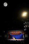 Ghost Month, Kaohsiung - The stage during a play of the Rom Shing Hakka Opera Troupeduring Ghost Month.<br /> The Ghost Festival is held on the 15th day of the 7th lunar month in the Chinese calendar, which always falls on a full moon.