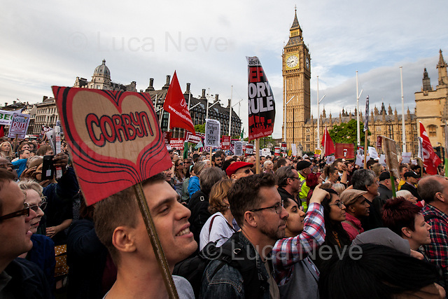 London, 27/06/2016. Today, more than 10,000 people gathered in Parliament Square to hold a demonstration in support and solidarity with the Labour Leader Jeremy Corbyn MP. Mr Corbyn is facing a motion of no confidence by some Labour MPs. On Monday more than 20 members of his shadow cabinet and a number of junior ministers resigned claiming an alleged lack of leadership during the EU Referendum campaign which brought the UK to leave the European Union after the 23rd of June 2016 EU Referendum. Speakers included, amongst others, Paul Mason, Claudia Webb, Mo Azam, Roger McKenzie, Jenny Formby, Angela Rayner MP, Diane Abbott MP, Sam Fairbairn, Nick Dearden, Rebecca Long-Bailey MP, Matt Wrack, Caroline Hill, Christine Shawcroft, John McDonnell MP, Dave Ward CWU, Dennis Skinner MP and Jeremy Corbyn MP.<br />  <br /> For more information about the demonstration please click here: https://www.facebook.com/events/1754368201514480/<br /> <br /> For an article by the BBC website about the Labour Party situation please click here: http://www.bbc.co.uk/news/uk-politics-36647458