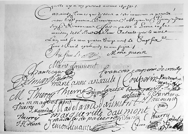 Marriage certificate of Francois Couperin, 1668-1733, French Baroque composer, and Marie-Anne Ansault, 1689, from the Bibliotheque Nationale de France, Paris. Copyright © Collection Particuliere Tropmi / Manuel Cohen