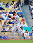 22 July 2011: Washington Nationals infielder Michael Morse in action against the Los Angeles Dodgers at Dodger Stadium in Los Angeles, California. The Nationals defeated the Dodgers 7-2 in their first meeting of the 2011 season. Mandatory Credit: Ed Wolfstein Photo