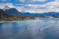 Commercial fishing vessels travel through Sitka Sound for the Herring fishery opener, Sitka, Alaska