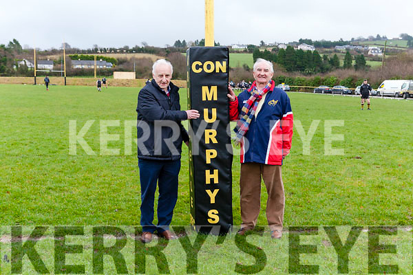 Jim Kelly, father of Liam Kelly, Manager of Con Murphy's Bar Philadelphia, USA, was on hand on Sunday last at the Grove, to kindly present goalpost pads to Abbeyfeale RFC. Also on hand to accept the pads, was Denis Murphy, Club Treasurer and brother of the late Con Murphy after which the bar is named.
