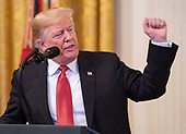 United States President Donald J. Trump makes remarks as he awards the Medal of Honor to Sergeant Major John L. Canley, United States Marine Corps (Retired), for conspicuous gallantry during the Vietnam War in a ceremony in the East Room of the the White House in Washington, DC on Wednesday, October 17, 2018.<br /> Credit: Ron Sachs / CNP