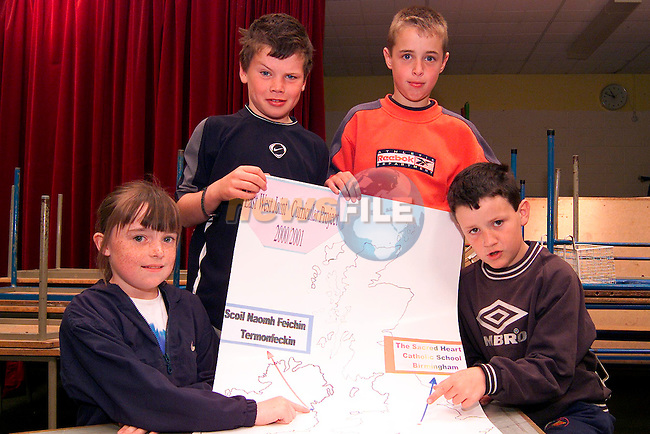 Ashling Myles, Rory Moore, Gerard Brannigan and Brendan Hynes from Termonfeckin NS who are taking part in the International Schools Project in cooperation with the Sacred Heart School, Birmingham..Picture: Paul Mohan/Newsfile