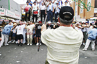 "A ""capo"" yells out instructions to the lifters (or ""Paranza"") at the annual Feast of Our Lady of Mount Carmel and the Dancing of the Giglio in Brooklyn, NY, on July 18, 2004."