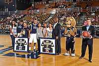 25 February 2012:  FIU's Seniors, guard Jeremy Allen (32) and guard DeJuan Wright (14) are honored prior to the game.  The FIU Golden Panthers defeated the University of South Alabama Jaguars, 81-74, at the U.S. Century Bank Arena in Miami, Florida.