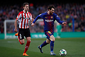 18th March 2018, Camp Nou, Barcelona, Spain; La Liga football, Barcelona versus Athletic Bilbao; Leo Messi of FC Barcelona breaks away from Saborit of Athletic Bilbao