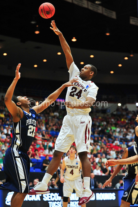 Mar 17, 2011; Tucson, AZ, USA; Temple Owls forward Lavoy Allen (24) shots over Penn State Nittany Lions forward Andrew Jones (22) during the second round of the 2011 NCAA men's basketball tournament at the McKale Center. Mandatory Credit: Chris Morrison-US PRESSWIRE