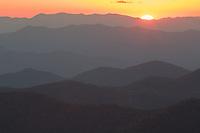 Blue Ridge Mountains at sunset, from Blue Ridge Parkway near Brevard, North Carolina