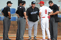 Appalachian League umpires with managers Dennis Holmberg and Mike Shildt before the first game of the 2011 Championship Series between the Bluefield Blue Jays and the Johnson City Cardinals at Howard Johnson Field on September 3, 2011 in Johnson City, Tennessee.  The Cardinals won the game 4-3.  (Tony Farlow/Four Seam Images)