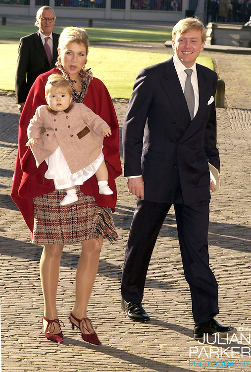 Crown Prince Willem Alexandra, Crown Princess Maxima and daughter Amelia attend the Christening of Prince Constantijn & Princess Laurentien of Holland's son Claus-Casimir, at the Palais Het Loo in Apeldoorn..