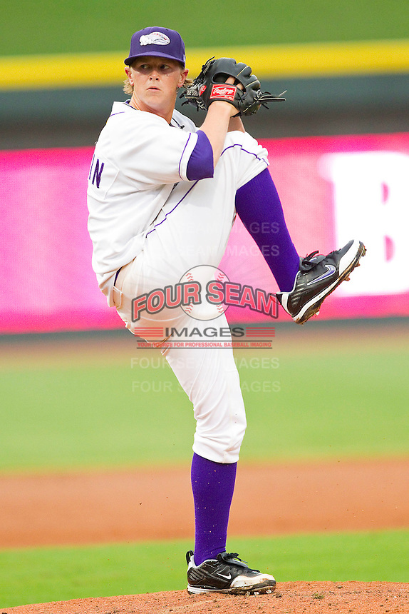 Starting pitcher Joe Serafin #9 of the Winston-Salem Dash in action against the Frederick Keys at BB&T Ballpark on August 5, 2011 in Winston-Salem, North Carolina.  The Dash defeated the Keys 10-0.   Brian Westerholt / Four Seam Images