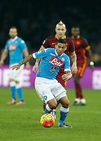 Napoli's Miguel Allan  controls the ball during the  italian serie a soccer match,between SSC Napoli and AS Roma       at  the San  Paolo   stadium in Naples  Italy ,December 13, 2015