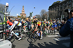 The start of the 110th edition of Milan-San Remo 2019 running 291km from Milan to San Remo, Italy. 23rd March 2019.<br /> Picture: LaPresse/Gian Matteo D'Alberto | Cyclefile<br /> <br /> <br /> All photos usage must carry mandatory copyright credit (&copy; Cyclefile | LaPresse/Gian Matteo D'Alberto)