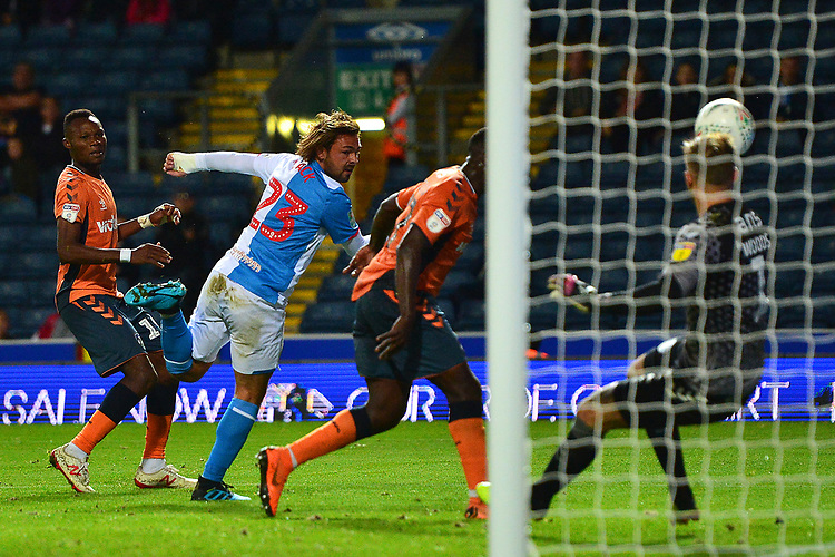 Blackburn Rovers' Bradley Dack scores a disallowed goal<br /> <br /> Photographer Richard Martin-Roberts/CameraSport<br /> <br /> The Carabao Cup First Round - Tuesday 13th August 2019 - Blackburn Rovers v Oldham Athletic - Ewood Park - Blackburn<br />  <br /> World Copyright © 2019 CameraSport. All rights reserved. 43 Linden Ave. Countesthorpe. Leicester. England. LE8 5PG - Tel: +44 (0) 116 277 4147 - admin@camerasport.com - www.camerasport.com