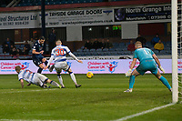 1st November 2019; Dens Park, Dundee, Scotland; Scottish Championship Football, Dundee Football Club versus Greenock Morton; Graham Dorrans of Dundee fires a shot just wide - Editorial Use