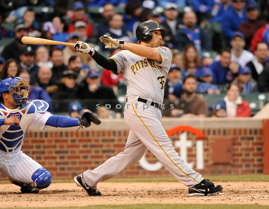 JASON JARAMILLO, of the Pittsburgh Pirates, in actions during the Pirates game against the Chicago Cubs at Wrigley FIeld on April 3, 2011.  The Pirates won the game beating the Cubs 5-4.