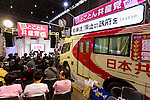Visitors attend a talk show at the Japanese Communist Party booth at Niconico Chokaigi festival in Makuhari Messe Convention Center on April 29, 2016, Chiba, Japan. Niconico, a largest social video website in Japan with over 53 million registered users, organized a 2 day long festival called Niconico Chokaigi which offers users and exhibitors to communicate face-to-face. Since it was first held in 2012, the number of attendants has been on a steady rise, partly owing to popular guests. Last year, the attendance hit a record high of 151,115, plus 7,940,495 online viewers. (Photo by Rodrigo Reyes Marin/AFLO)