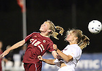 03 November 2010: Boston College's Julia Bouchette (12) and Virginia's Colleen Flanagan (right). The Boston College Eagles defeated the Virginia Cavaliers 1-0 in an ACC Women's Soccer Tournament quarterfinal game at Koka Booth Stadium at WakeMed Soccer Park in Cary, NC.