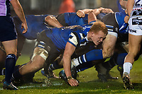 Miles Reid of Bath Rugby in action at a scrum. Premiership Rugby Cup match, between Bath Rugby and Gloucester Rugby on February 3, 2019 at the Recreation Ground in Bath, England. Photo by: Patrick Khachfe / Onside Images