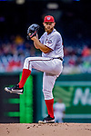 15 April 2018: Washington Nationals starting pitcher Stephen Strasburg on the mound against the Colorado Rockies at Nationals Park in Washington, DC. All MLB players wore Number 42 to commemorate the life of Jackie Robinson and to celebrate Black Heritage Day in pro baseball. The Rockies edged out the Nationals 6-5 to take the final game of their 4-game series. Mandatory Credit: Ed Wolfstein Photo *** RAW (NEF) Image File Available ***