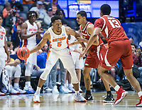 NWA Democrat-Gazette/BEN GOFF @NWABENGOFF<br /> KeVaughn Allen (left), Florida guard, runs out the clock while being guarded by Jalen Harris, Arkansas guard, late in the second half Thursday, March 14, 2019, during the second round game in the SEC Tournament at Bridgestone Arena in Nashville.