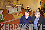 NEW FLOOR: Tommy Healy and Fr Pat Moore checking out the new stone carpet floor in Duagh Church, one of only three such floors in the country.