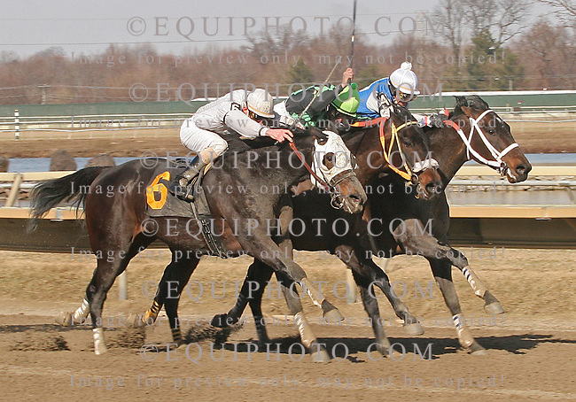 Jake's Bandaid with Stewart Elliott - 1st Place. South Fourth St., Kendrick Carmouche, up - 2nd Place.  Linebacker, Roberto Alvarado, Jr. up - Third Place at Parx Racing in Bensalem, Pennsylvania February 26, 2011.  Photo By Barbara Weidl/EQUI-PHOTO