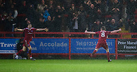 Accrington Stanley's Sam Finley, right, celebrates scoring his side's fourth goal<br /> <br /> Photographer Andrew Vaughan/CameraSport<br /> <br /> The EFL Sky Bet League One - Accrington Stanley v Lincoln City - Saturday 15th February 2020 - Crown Ground - Accrington<br /> <br /> World Copyright © 2020 CameraSport. All rights reserved. 43 Linden Ave. Countesthorpe. Leicester. England. LE8 5PG - Tel: +44 (0) 116 277 4147 - admin@camerasport.com - www.camerasport.com