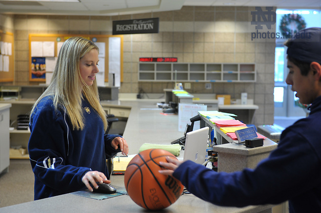 Maggie Bolotin at the front desk of the RSRC...Photo by Matt Cashore/University of Notre Dame..