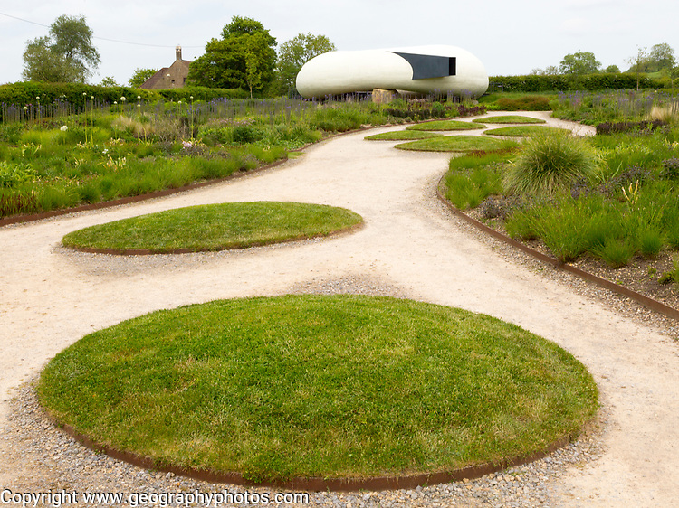 Hauser and Wirth art gallery, restaurant and garden, Durslade Farm, Bruton, Somerset, England, UK gardens designed by Piet Oudolf