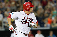 Indiana Hoosiers catcher Kyle Schwarber (10) runs to first base against the Mississippi State Bulldogs during Game 6 of the 2013 Men's College World Series on June 17, 2013 at TD Ameritrade Park in Omaha, Nebraska. The Bulldogs defeated Hoosiers 5-4. (Andrew Woolley/Four Seam Images)