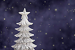 USA, Illinois, Metamora, Silver Christmas tree against sky with stars