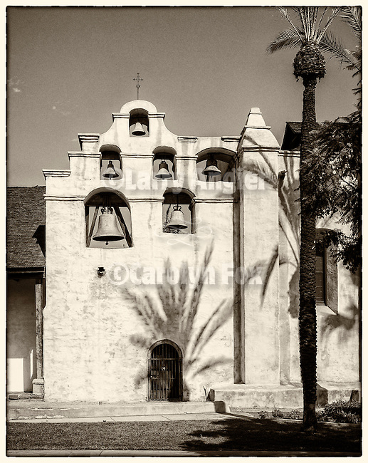 Bell tower and plan, Mission San Gabriel Arcángel, forth of the 21 California Missions and founded by Father Junipero Serra, September 8, 1771.