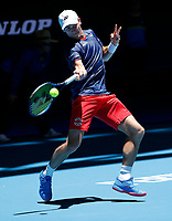 7th January 2020; RAC Arena, Perth, Western Australia; ATP Cup Australia, Perth, Day 5; Russia versus Norway; Casper Ruud of Norway plays a forehand shot from the baseline against Daniil Medvedev of Russia - Editorial Use