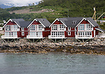 Waterside tourist accommodation Stokmarknes, Hadsel municipality, Hadseloya island, Nordland, Vesteralen region, northern Norway