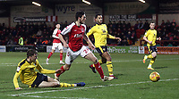 Fleetwood Town's Ashley Nadesan sees this close range second half effort saved by Oxford United's Simon Eastwood (not pictured)<br /> <br /> Photographer Rich Linley/CameraSport<br /> <br /> The EFL Sky Bet League One - Fleetwood Town v Oxford United - Saturday 12th January 2019 - Highbury Stadium - Fleetwood<br /> <br /> World Copyright &copy; 2019 CameraSport. All rights reserved. 43 Linden Ave. Countesthorpe. Leicester. England. LE8 5PG - Tel: +44 (0) 116 277 4147 - admin@camerasport.com - www.camerasport.com
