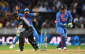 10th February 2019, Seddon Park, Hamilton, New Zealand; 3rd T20 International, New Zealand versus India;    Kane Williamson looks on as MS Dhoni whips the bails off